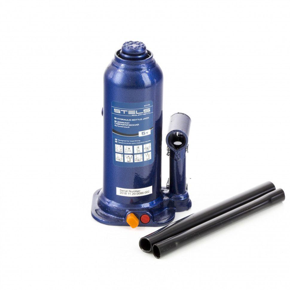 Домкрат гидравлический бутылочный Stels 5 т, h подъема 207-404 мм, в пластиковом кейсе