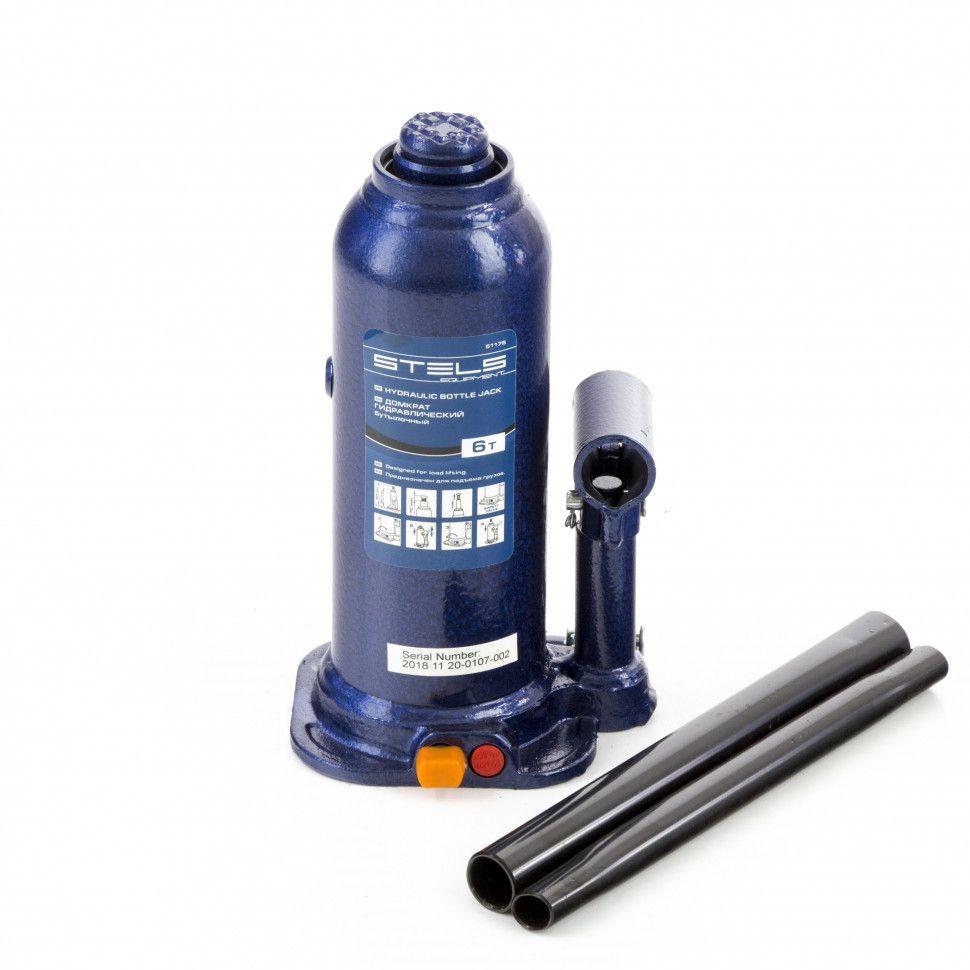 Домкрат гидравлический бутылочный Stels 6 т, h подъема 207-404 мм, в пластиковом кейсе