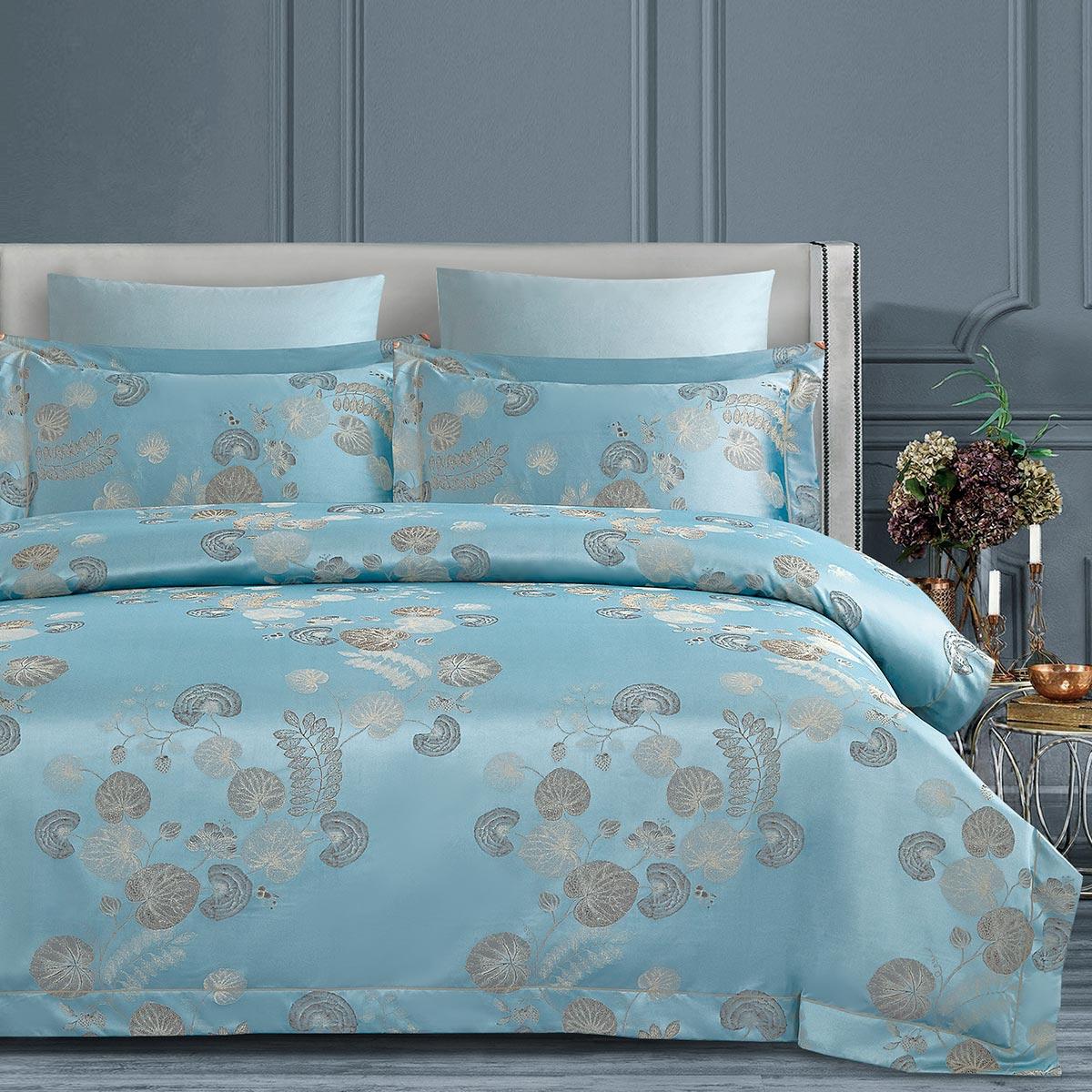 Комплект постельного белья Arya Home Majestik Riley голубой Евро