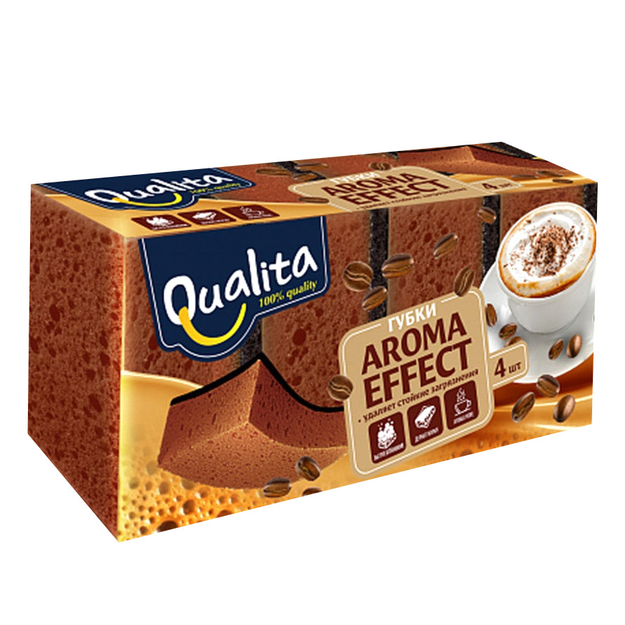 Губки кухонные Qualita Aroma Effect 4 шт