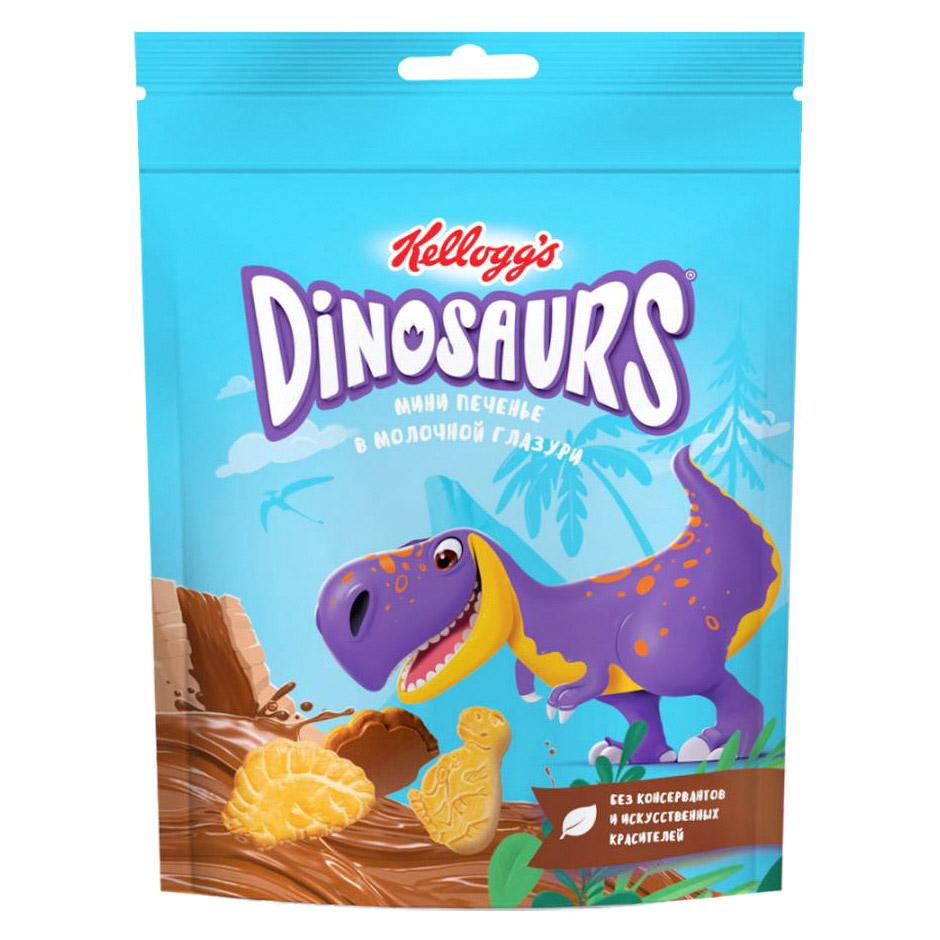печенье kellogg s dinosaurs сахарное в молочной глазури 127 г Печенье сахарное Kellogg's Dinosaurs мини в молочной глазури 50 г