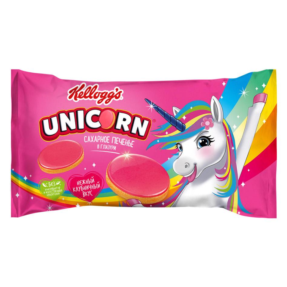 печенье kellogg s dinosaurs сахарное в молочной глазури 127 г Печенье сахарное Kellogg's Unicorn в глазури Клубника 105 г