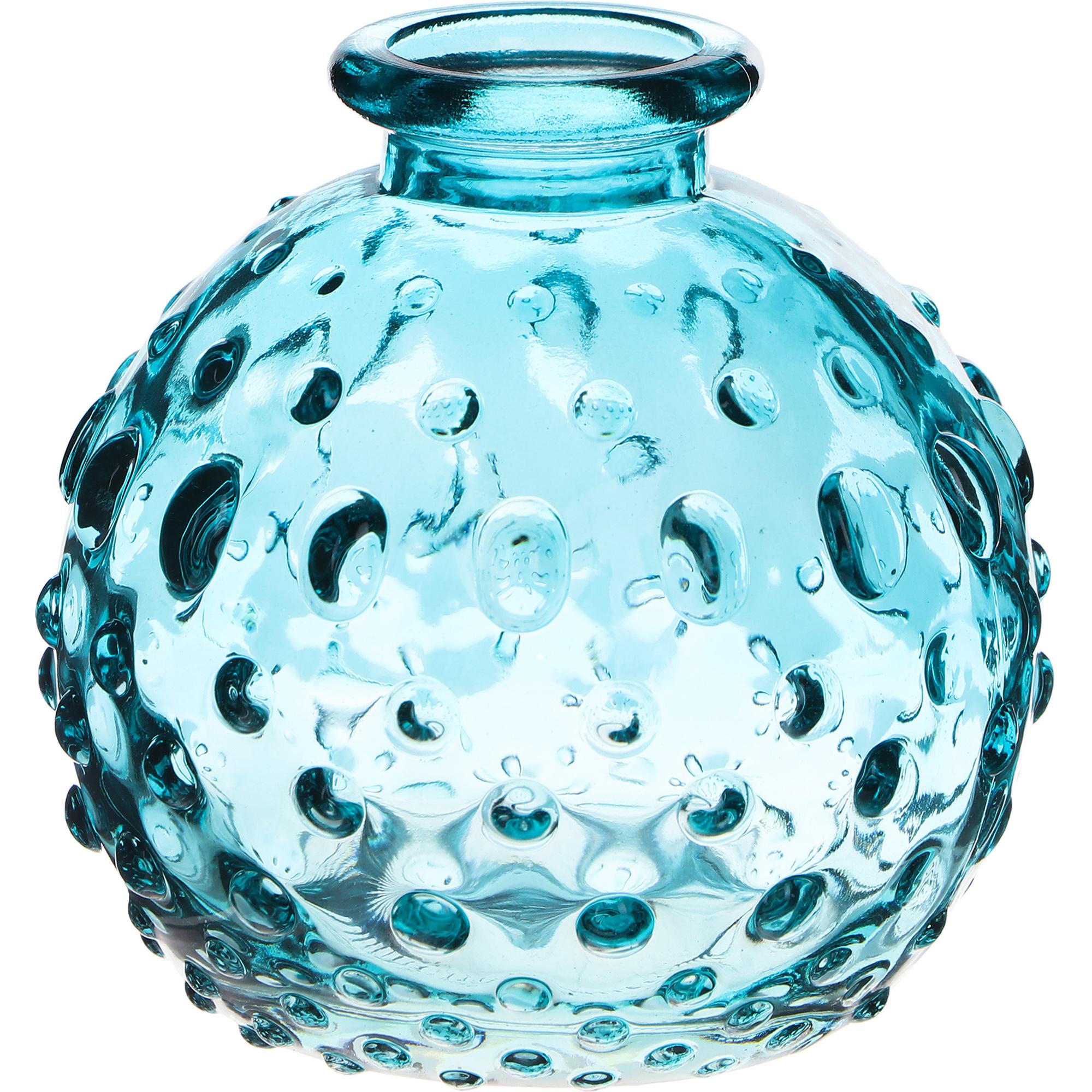 Ваза стеклянная Hakbijl Glass Mini Vase голубая 8,5х8 см