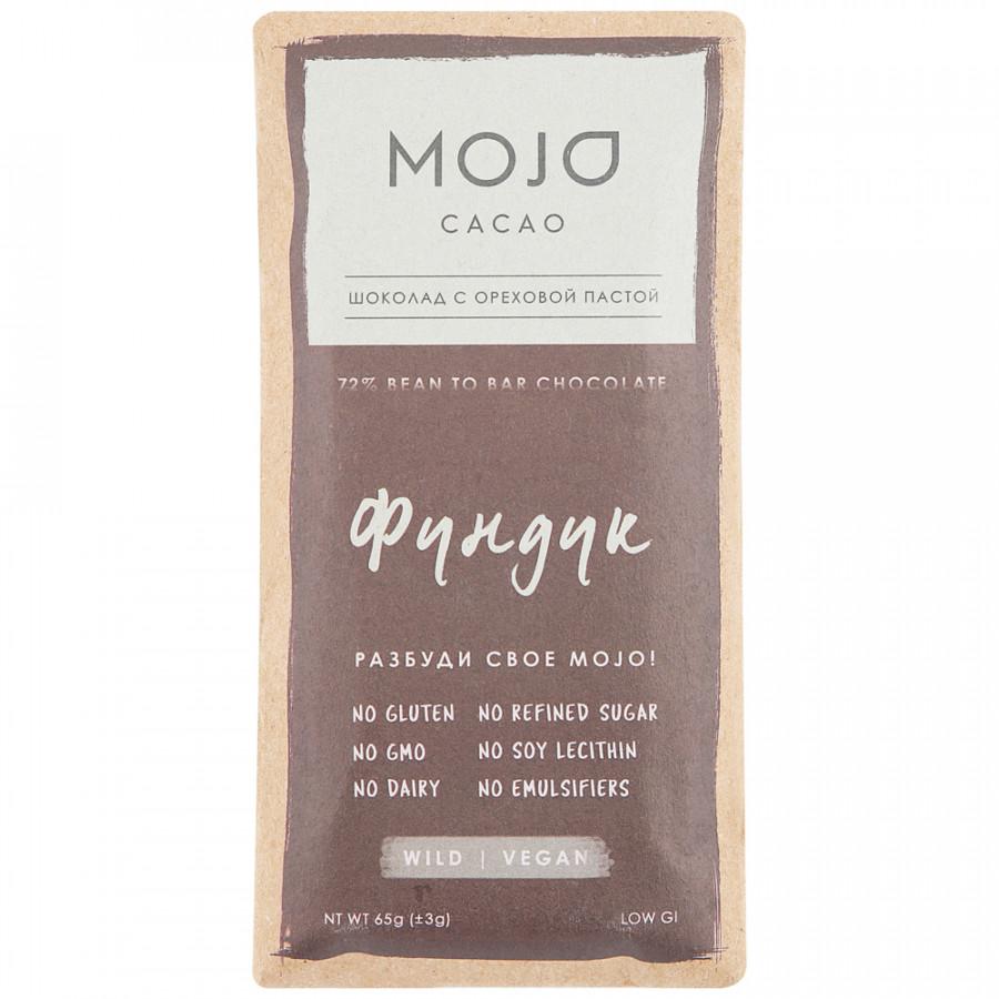 Шоколад Mojo cacao горький Фундук 72%, 65 г