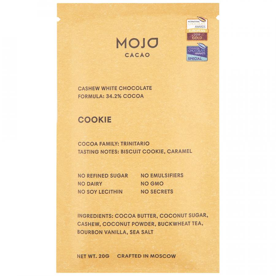 Шоколад Mojo cacao Cookie белый с гречишным чаем, 20 г