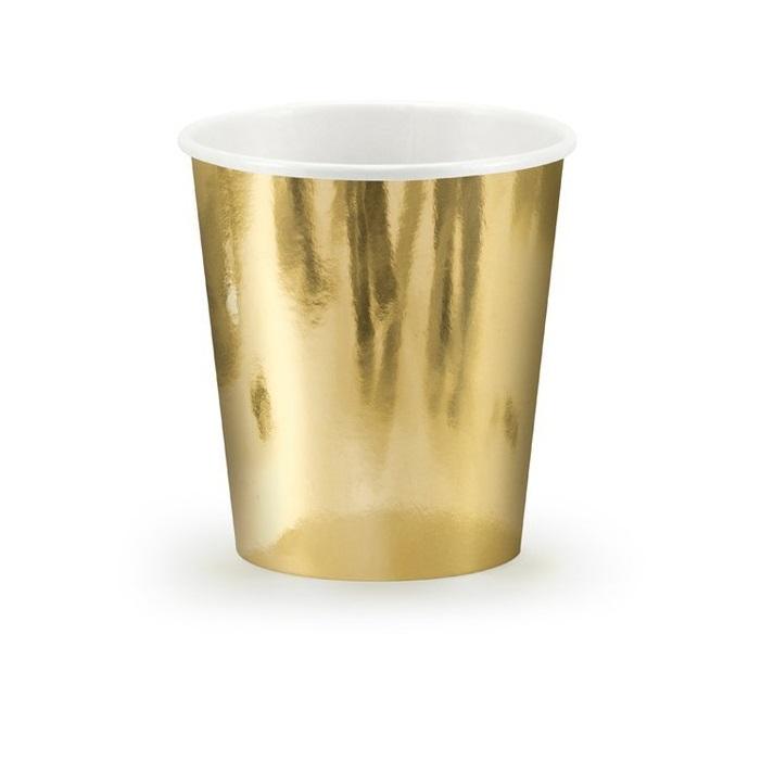 Стакан бум золотой Party Deco 180мл 6шт в ассортименте стакан бумажный party deco swan 220мл 6шт в ассортименте