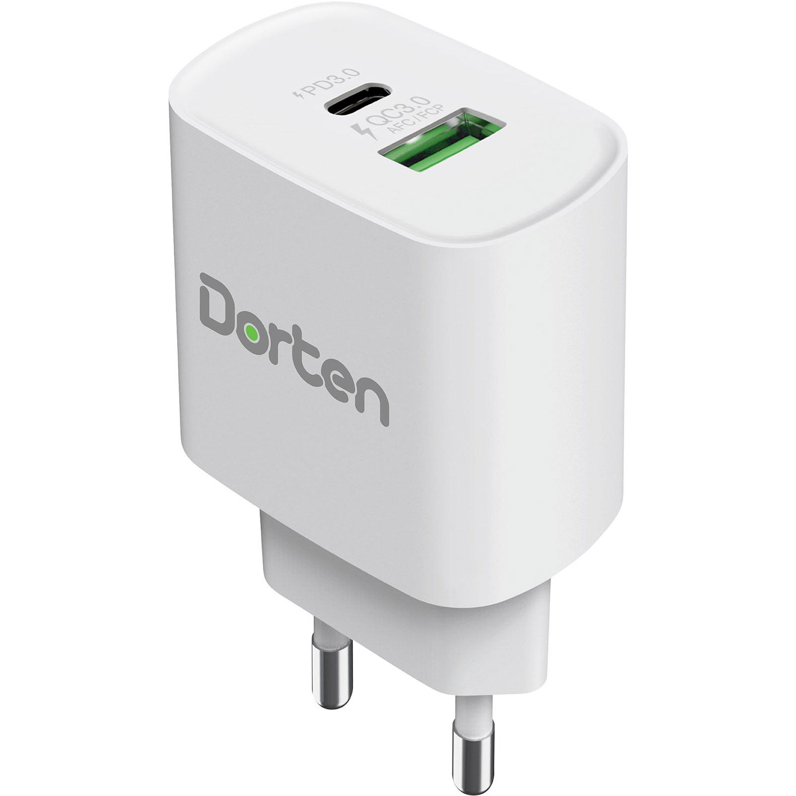 Фото - Сетевое зарядное устройство Dorten 2-Port USB 20W Wall Quick Charger PD3.0+QC3.0 белый DN206600 сетевое зарядное устройство aukey dual port wall charger pa d1 30w usb usb c черное