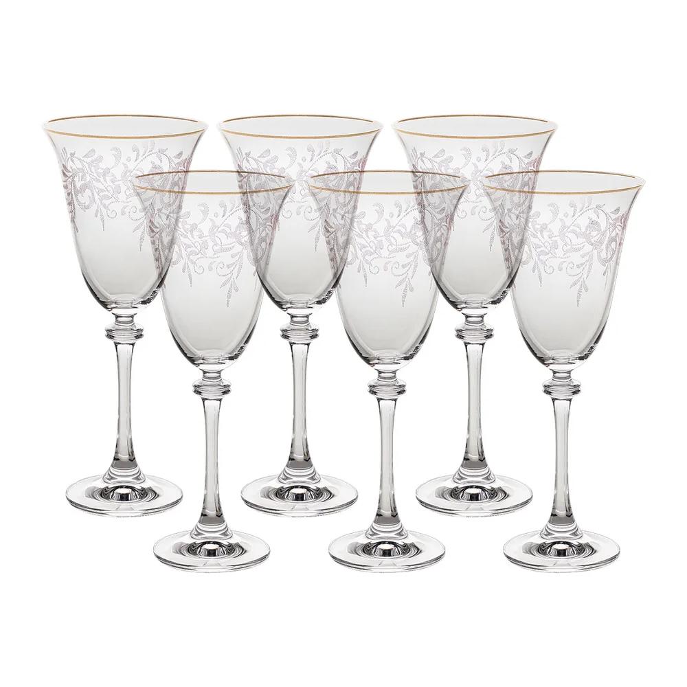 Фото - Набор бокалов для красного вина Crystalite Bohemia Asio Панто, затирка золото 250 мл 6 шт набор фужеров crystalite bohemia asio панто платина 190 мл 6 шт