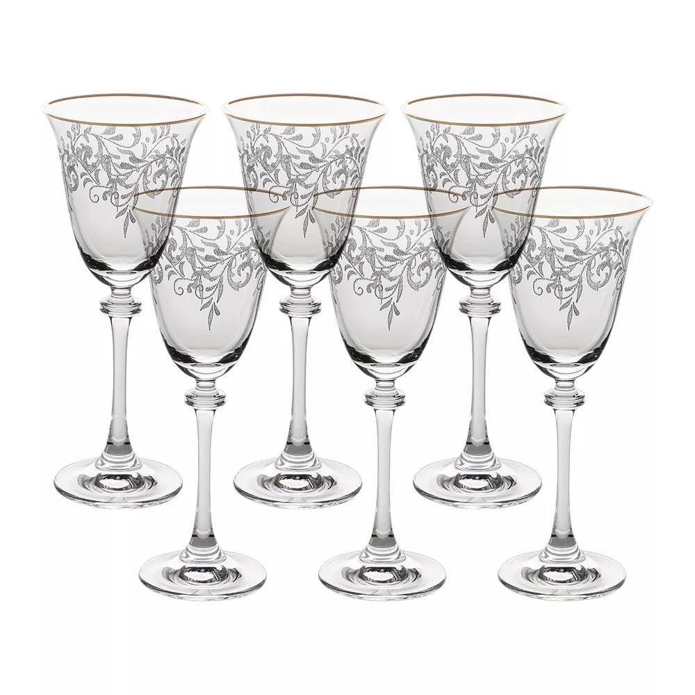 Фото - Набор бокалов для белого вина Crystalite Bohemia Asio Панто, затирка платина 185 мл 6 шт набор фужеров crystalite bohemia asio панто платина 190 мл 6 шт