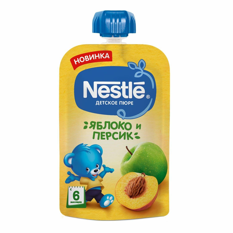 Фото - Пюре детское Nestle со вкусом яблоко-персик с 6 месяцев, 90 г органическое детское питание 2 й этап 6 месяцев яблоко голубика и овес 4 0 унции 113 г