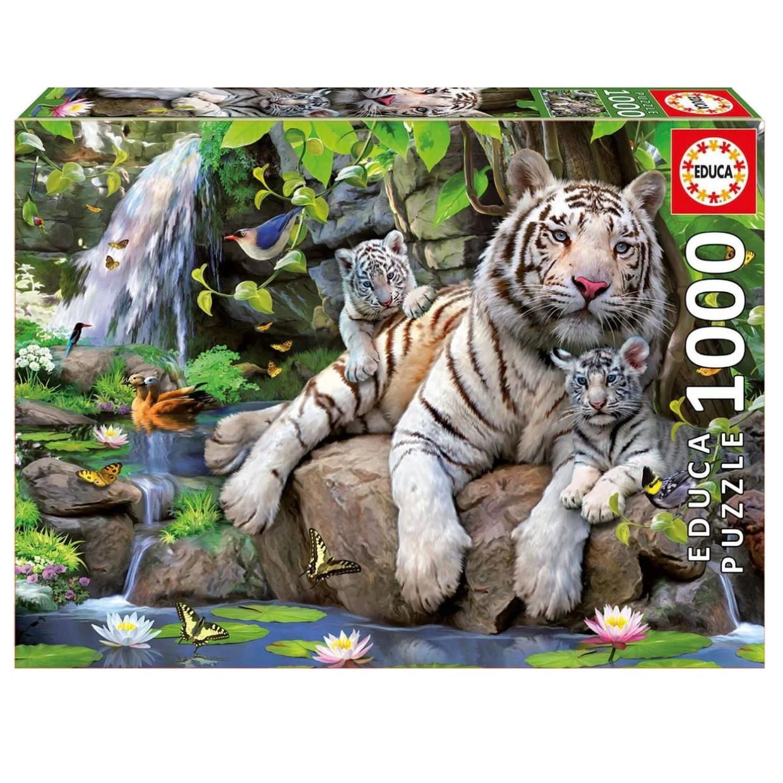 Фото - Пазл Educa 1000 деталей Белые бенгальские тигры пазл educa мир банкнот 1000 деталей