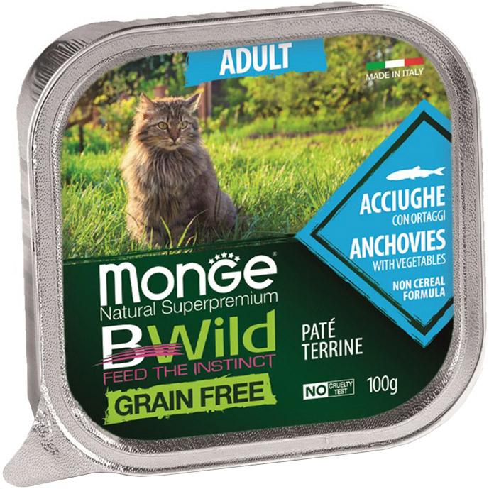 Фото - Корм для кошек Monge BWild Grain Free анчоусы с овощами 100 г monge bwild grain free cat беззерновые для взрослых кошек с треской креветками и овощами в соусе 85 гр