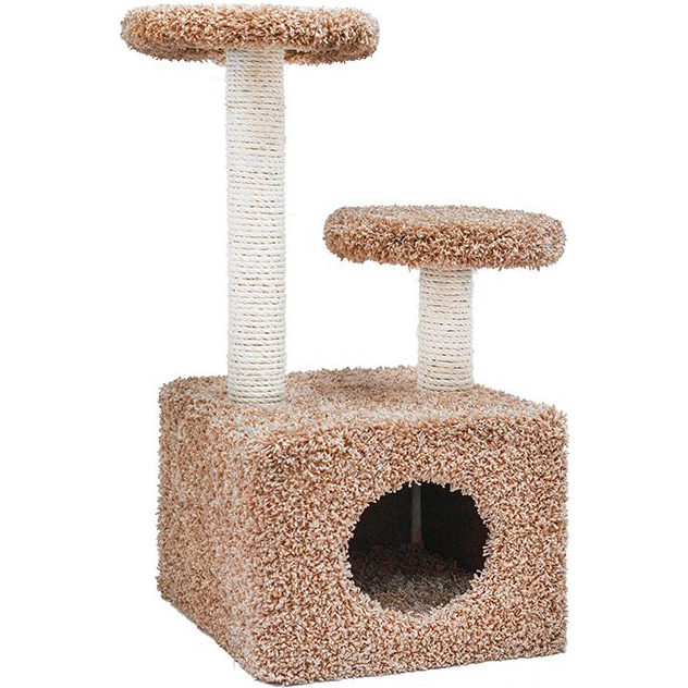 Когтеточка для кошек Foxie Домик с двумя площадками 37x58x76см бежевая