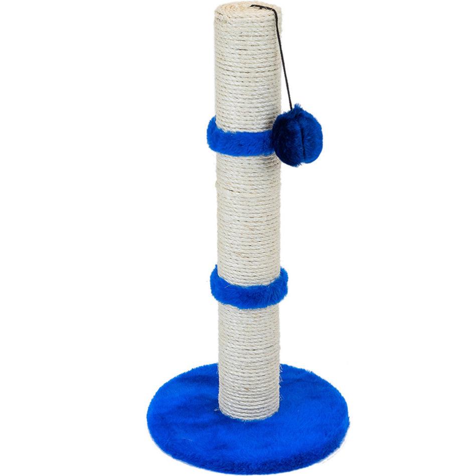 Когтеточка для кошек Foxie Столбик с игрушкой 30x30x65 см синяя