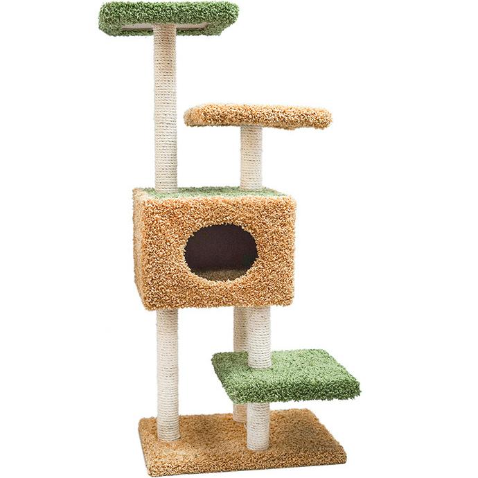Когтеточка для кошек Foxie С домиком и тремя площадками 61x46x118 см бежево-зеленая