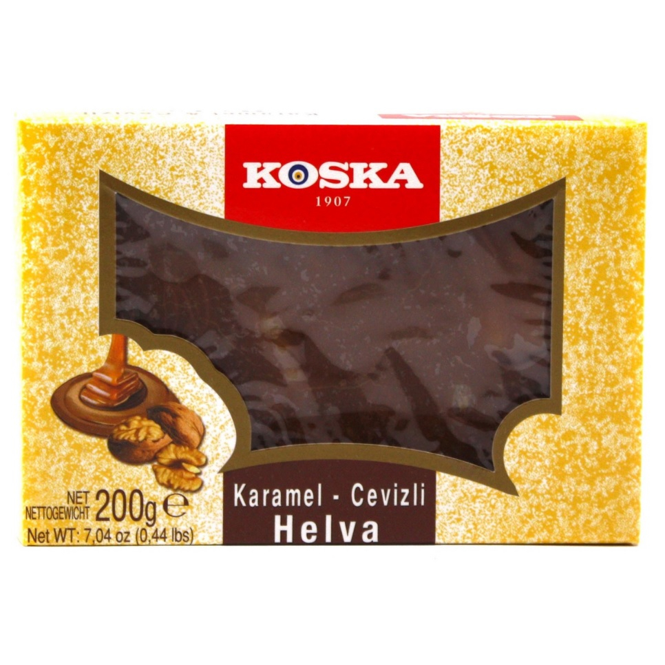 Халва Koska с грецким орехом и карамелью, 200 г