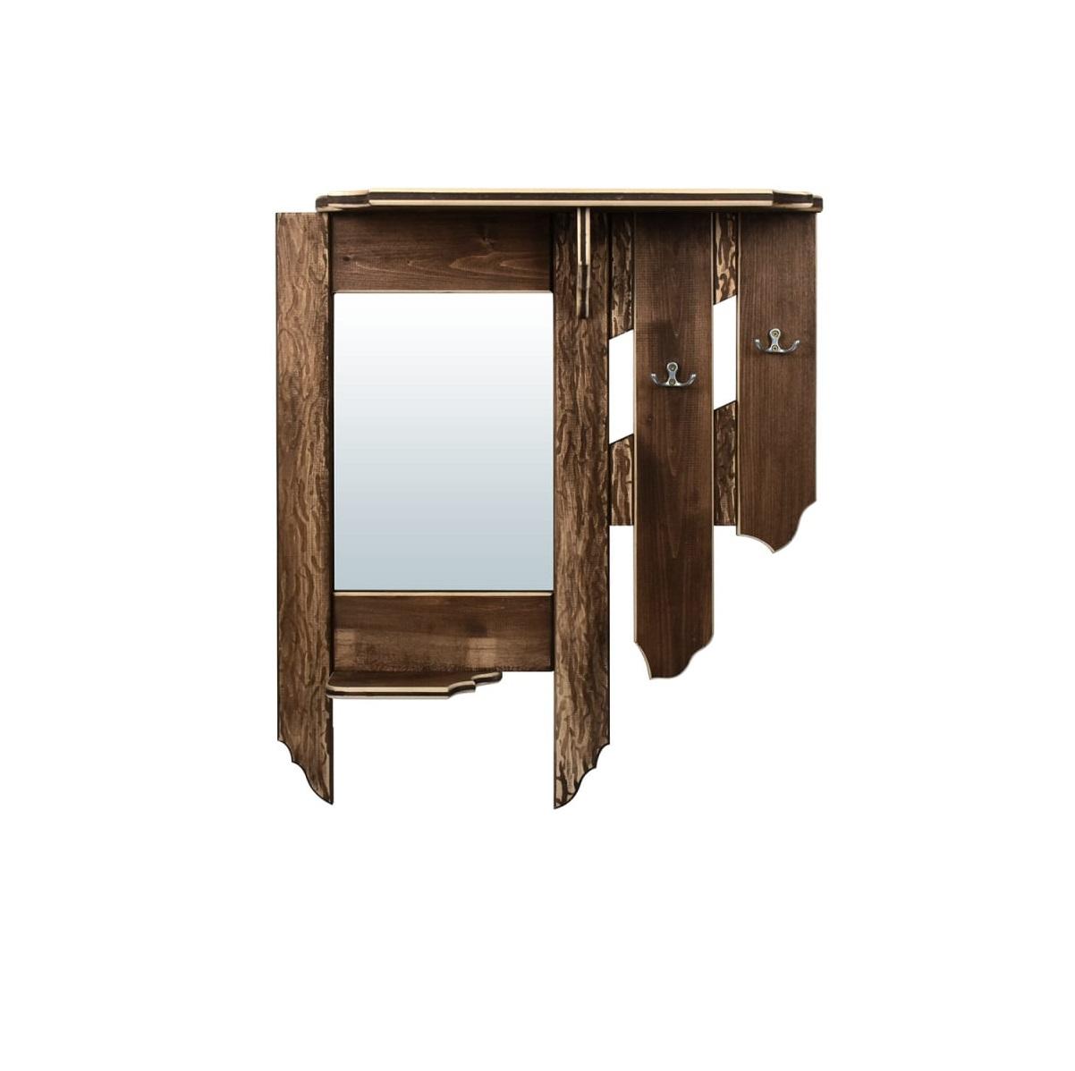 Зеркало Банные штучки с вешалкой и полкой, состаренное, 77x67x15 см, 2 крючка, липа