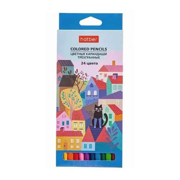 Карандаши Hatber Городок трехгранные 24 цвета