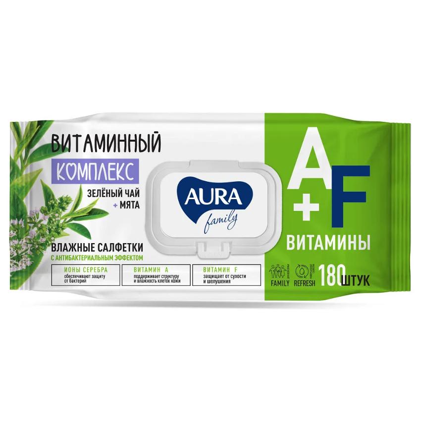 Фото - Салфетки влажные Aura Family антибактериальные 180 шт салфетки влажные aura антибактериальные 20 шт